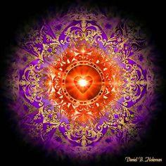 heart mandala by daniel holeman. Arte Chakra, Chakra Art, Mandala Art, Art Visionnaire, Anahata Chakra, Visionary Art, Fractal Art, Sacred Geometry, Psychedelic