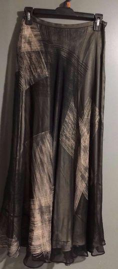 "Dana Buchman Full Length Silk Skirt Size 2 Waist 26"" Sheer over Lining EUC  | eBay"