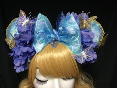 Live action Cinderella butterfly floral disney mouse ears available in my easy shop! Starlet Harmony Creations Co!