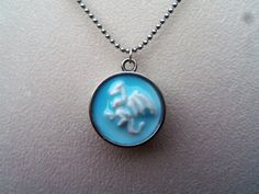 Dragon necklace, dragon pendant, faux ceramic, resin, polymer clay