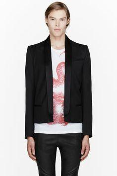 Balmain Black Classic Shawl Blazer for men | SSENSE