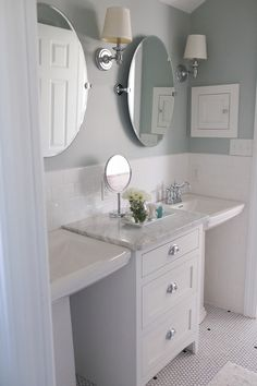 Summer Tour of homes featuring House No. 124 Love this for a small bathroom, two pedestal sinks with drawers for storage in between Pedastal Sink Bathroom, Pedestal Sink Storage, Bathroom Mirrors Diy, Bathroom Images, Bathroom Renos, Small Bathroom, Master Bathroom, Bathroom Ideas, Bathrooms With Pedestal Sinks