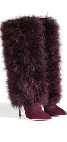 Sergio Rossi | FW 2014 | cynthia reccord | luxurious boots from Sergio Rossi feature a bold feather shaft