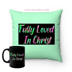 Fully Loved In Christ SetThis modern set consists of two items.1.Fully Loved In ChristBlack mug 11ozEpic and artistic design that is rich in colors.Black ceramic11 oz (0.33 l)Rounded corners2.Top Colorful Fully Loved In Christ SquareFaux Suede Square PillowAn artistic design on the frontwith a light green color on the back withan assurance of being fully loved and accepted in Christ.These highly practical beautiful indoor pillows in... Gift Sets, Round Corner, Home And Living, Green Colors, Christ, Unique Gifts, Indoor, Colorful, Throw Pillows