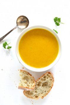 classic pumpkin soup, spiced with turmeric, coriander, cumin, cardamom  coconut milk