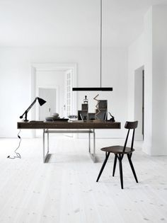 Interior design inspirations, home office white workspace with dark wood desk,, italian bark Workspace Inspiration, Decoration Inspiration, Interior Design Inspiration, Design Interior, Interior Modern, Interior Styling, Decor Ideas, Small Workspace, Office Workspace
