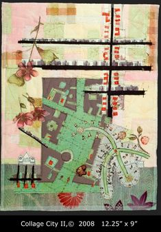 Collage City II map art quilt by Valerie S. Map Quilt, Quilts, Quilt Art, Quilting Board, Collage, Textile Fiber Art, Map Design, Map Art, Fabric Art