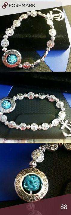 Anchor blue moon bracelet Anchor charm with blue crystal circle moon stretchy bracelet Jewelry Bracelets