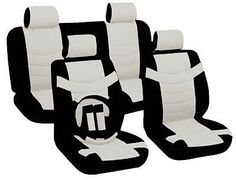 Car Seat Covers Classic Accent Black & White PU Leather Steering Wheel Set CS1