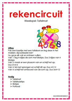 Rekenen Rekencircuit: tafel mat www.eliseinonderwijsland.nl Education Humor, Primary Education, Kids Education, Special Education, Educational Leadership, Educational Technology, High School Counseling, Outdoor Education, Mobile Learning
