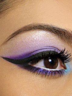 Purple smokey eye make up brown eyes
