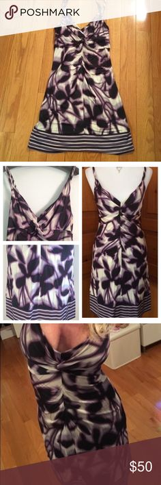 BCBG Purple Sundress (xxs) New perfect condition stretchy Sundress. Spaghetti strap. Purple and white tie dye design. Body con. V-neck. BCBGMaxAzria Dresses Mini