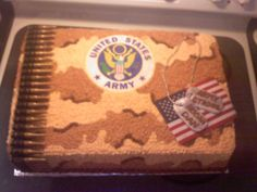 Army Deployment cake - chocolate cake, butter cream frosting