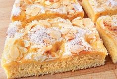 "German Butterkuchen - ""Butter Cake"" with Almonds or Nuts... Sprinkle cinnamon sugar on top instead of nuts   http://www.quick-german-recipes.com/butter-cake-recipe.html"
