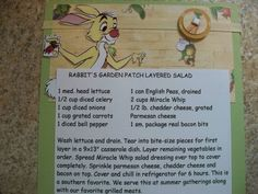 Disney Recipe Card (Rabbit) by mepylant - Cards and Paper Crafts at Splitcoaststampers Retro Recipes, Old Recipes, Cookbook Recipes, Vintage Recipes, Kids Cookbook, Cake Recipes, Recipies, Disney Inspired Food, Disney Food