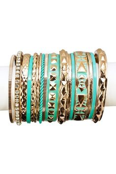 Aztec Bangle Set by Top It Off: Vibrant Jewelry Shop on @HauteLook