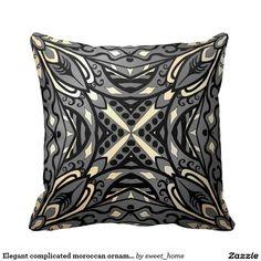 Elegant complicated moroccan ornament. throw pillow  Moroccan ornament for bedroom make interior unique and add aesthetics sense. Ornament create in oriental tradition. #Home #decor #Room #accessories #Interior #decorating #Idea #Styles #abstract