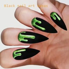 These nails designs are perfect for halloween decor. Will you wanna get a special halloween? Black Marble Nails, Matte Black Nails, Black Nail Art, Halloween Acrylic Nails, Halloween Nail Designs, Best Acrylic Nails, Nail Art Designs, Black Nail Designs, Nails Design