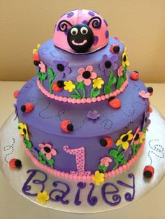 Ladybug themed first birthday cake with smash cake