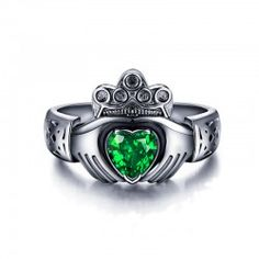 Romantic CZ Inlaid Black Gold Plated 925 Sterling Silver Claddagh Ring