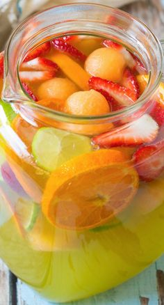 Sparkling White Sangria with Melon, Ginger Liqueur and Berries ~ cool and refreshing recipe
