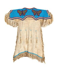 Sioux Child's Beaded Hide Dress, with Butterflies length 32 x chest 30 inches Native American Clothing, Native American Women, African American History, Native American Indians, American Girl, Civil War Photos, Military Art, Art Of Living, Beading Tutorials