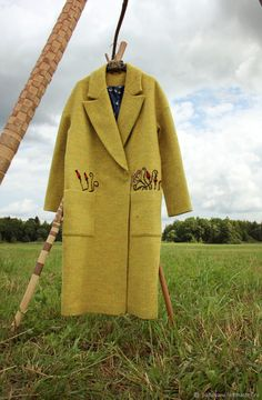 Купить Пальто с вышивкой желтое осеннее Briar  осень зима - желтый, пальто, вышивка