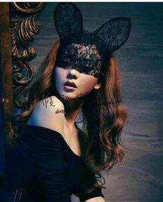 Lady Gaga Party SEXY SHOW dress up Bunny ears Full Lace mask Veil S08(Medium ears)