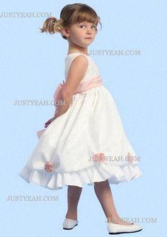 A-Line Scoop Knee-Length Satin Flower Girl Dress