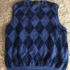 Vintage 30s Style 70s Men Sweater Vest, 1970s Intarsia Wool Blend Knit Argyle, Size Medium to Large