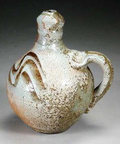 Tony Clennell  |  Wood-fired, Shino, stoneware whiskey jug (h:18cm).