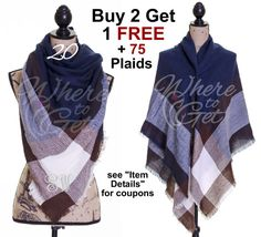 Blanket Scarf Navy Cream blanket scarf plaid square by WhereToGet