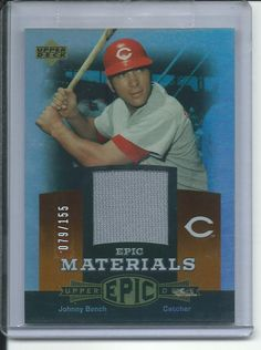 2006 johnny bench upper deck epic materials orange jersey limited to 79/155
