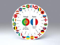 Fußball Einladungskarte zum Endspiel Portugal : Frankreich am 10. Juli 2016 um 21:00 Uhr • freistehende, runde Falt-Karte für Standardkuverts • cc212.08 • #Fußball #PORFRA #rund #Karte #radial #Dekoration #Papier www.centuryo.com