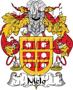 Melo Family Crest apparel, Melo Coat of Arms gifts