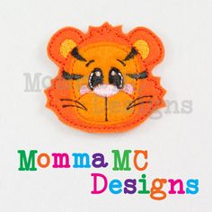 Tiger Felt Feltie Embroidery Design by MommaMC on Etsy (Craft Supplies & Tools, Patterns & Tutorials, Sewing & Needlecraft, Embroidery, machine embroidery, felt, feltie, felty, pattern, zoo, tiger)