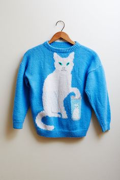 Vintage 1990s Handmade Grumpy Cat Knitted Sweater in White & Blue ADORABLE!