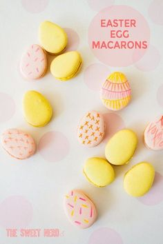 These cute little Macaron Eggs get me hoppin' right into springtime and of course, Easter. I used almond flour with the macaron cookie, making them gluten free. There's almost no taste to the cookie though, it's all in the rich dark chocolate filling. Macarons, Macaron Cookies, Easter Cupcakes, Easter Cookies, How To Make Macaroons, Macaron Template, Chocolate Ganache Filling, Biscuits, Macaroon Recipes