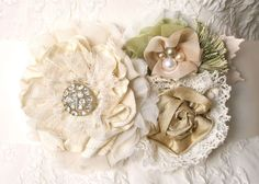 Vintage Inspired Fabric Flower Corsage
