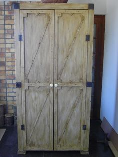 """(RS 43) Rustic Barn Broom Cabinet.   Dimensions L 1000 x W 450 x H 2000 mm. Price R5225. Can be ordered in dimensions and colours of your choice and in """"rustic"""", """"whitewash"""" or """"shabby chic"""" finishes!  Contact us at Roes & Skroef 0218632371, 0835143382 Paarl, or e-mail humanr@telkomsa.net for a current exclusive pricelist with photos and measurements.  http://www.facebook.com/RoesSkroef"""