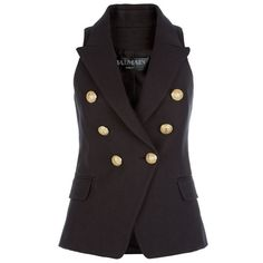 Balmain Classic Woven Sleeveless Blazer ($1,455) ❤ liked on Polyvore featuring outerwear, jackets, blazers, no sleeve jacket, white sleeveless blazer, tailored jacket, balmain e sleeveless jacket