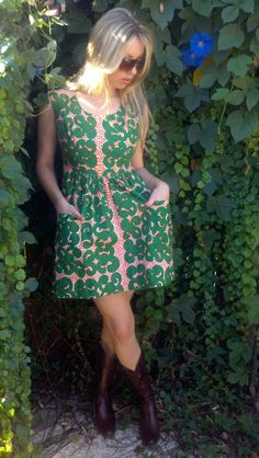 Vintage 60s Marimekko Finland Mod Graphic Print Dress Big Pockets