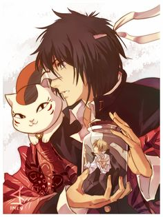 Kaname Tanuma with Nyanko-sensei and Natsume in the jar - Natsume Yuujinchou (Natsume\'s Book of Friends). I like to think this is the moment he realizes how dangerous this is, but decides to keep going anyway. And Natsume\'s just sitting there begging him to stop.