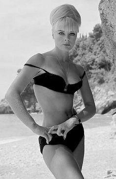 Elke Sommer in a tiny black bikini (1960s)