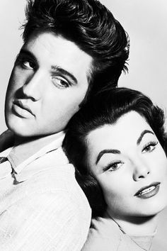 """Elvis Presley and Judy Tyler in a promotional photograph for """"Jailhouse Rock"""", 1957."""