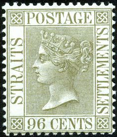 96¢. Olive-grey - SG71 Old Stamps, Vintage Stamps, Santa Lucia, Jamaica, Strait Of Malacca, Straits Settlements, Queen Vic, Crown Colony, New Zealand