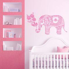 Elephant Wall Decal Elephant Yoga Vinyl Stickers Indie Wall Art Bedroom Dorm Nursery Boho Bohemian Bedding Decor Interior Design ML182