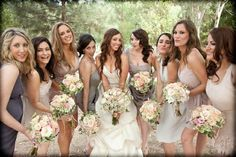 Neutrals- greys and soft blush colors...I like the mismatched dresses, gives the bridal party a unique look