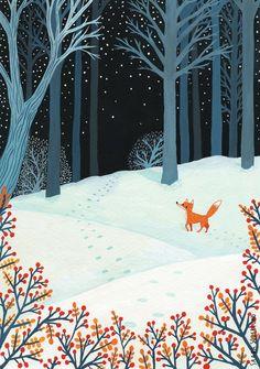Winter fox by Saara Katariina Söderlund . - Winter fox by Saara Katariina Söderlund - Abstract Illustration, Winter Illustration, Christmas Illustration, Children's Book Illustration, Illustrations, Forest Illustration, Painting Inspiration, Art Inspo, Art Fox