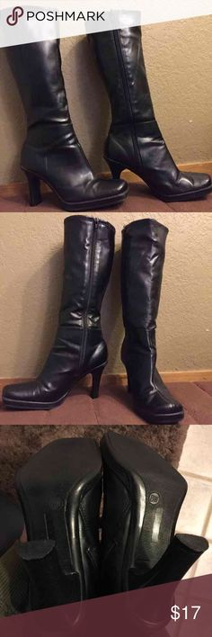"""Black Connie Knee-high Boots """"Liberty"""" The brand is Connie, the style is Liberty. Fabulous high heel, square toe and center seam. The inside zipper & stretch fabric make this a comfy boot. Man-made stretch upper. Pre-worn condition with some minor scuffing as seen in pics. Connie Shoes Heeled Boots"""